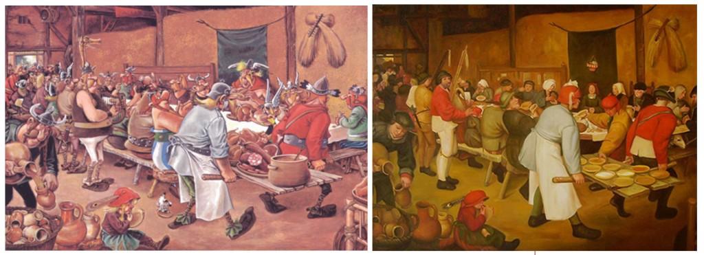 A gauche, la scène du banquet dans Astérix chez les Belges. A droite, le Repas de noces paysannes chez Bruegel.